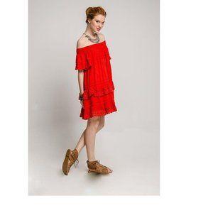 Muche Et Muchette Red Boho Dress Size OS All S/M/L
